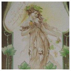Horoscope 'Sagittarius' Gilded Postcard c1900 Art Nouveau