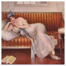 Salon de Paris Artist Postcard 'Le Roman-Reverie' c1914.