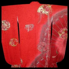 Kansai Yamamoto Kimono Original Japanese Red Silk Furisode with Fans, Flower Balls, Tassels and  Gold Glaze Highlights. Signed  c1980.