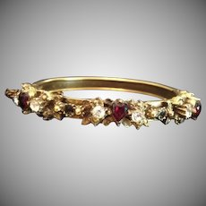 SALE: Natural Garnet Hearts and Rose Cut Clear Paste Gold-washed Edwardian 'Sweetheart' Clamper Bangle Bracelet