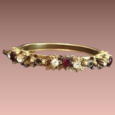 Natural Garnet Hearts and Rose Cut Clear Paste Gold-washed Edwardian 'Sweetheart' Clamper Bangle Bracelet