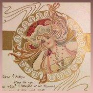 Art Nouveau Eva Daniell Chromographed Postcard with hand Gilding 1903 Rare