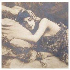 French Orientalist Harem Real Photo Postcard 'La Sieste' 1910