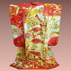 SALE: Hot Pink and  Cream + Bold Multi-color Japanese silk Wedding Uchikake Kimono with Gold Embroidery~Truly Amazing. c1970.