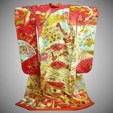 SALE: Vintage Wedding Kimono Uchikake Hot Pink and  Cream + Bold Multi-color Japanese Silk with Gold Embroidery~Truly Amazing. c1970.
