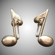 Sterling Silver Musical Note Screw Back Earrings c1970