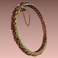 Garnet and Gold Wash Bangle Bracelet.