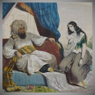 SALE: Antique French Hand Finished Orientalist Harem Chromolithograph c1866.