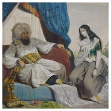 Antique French Hand Finished Orientalist Harem Chromolithograph c1866. - Red Tag Sale Item
