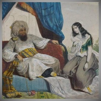 Antique French Hand Finished Orientalist Harem Chromolithograph c1866.