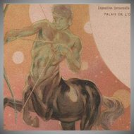SALE: Zodiac Centaur Art Nouveau French Sagittarius Paris Expo Postcard 1900