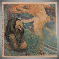Mermaid and Lion Art Nouveau Paris Exposition Horoscope Lithographic Postcard 1900.