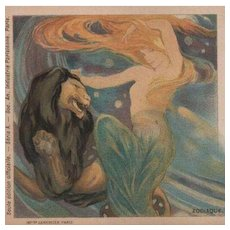 Mermaid and Lion Art Nouveau Paris Exposition Horoscope Lithographic Postcard 1900.