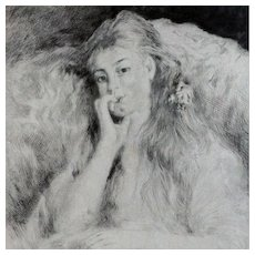 Signed Renoir French Etching 'La Pensee' 1904. - Red Tag Sale Item