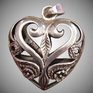 Sterling Silver Etched Puffy Heart Pendant..Large