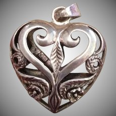 SALE: Sterling Silver Etched Puffy Heart Pendant..Large