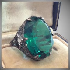 SALE: Antique Filigree Silver Metal, Enamel and Green Glass Dress Ring.