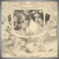 German Art Nouveau Viennoise 'Two Maidens' Postcard 1905