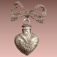 Bow and Perfume Bottle Silver-tone Brooch..Huge