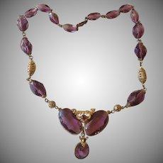SALE: Art Deco Czech Amethyst and Brass Necklace.
