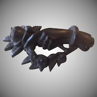 Victorian Carved Black Hand and Rose Mourning Brooch.