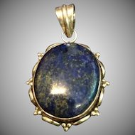 Deep Blue Lapis Lazuli and Sterling Silver Large Pendant.