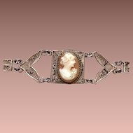 Wirework Cannetile  and Filigree Cameo Bracelet