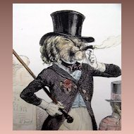SALE: Original French Grandville Hand Colored Engraving 'Un Lion de Paris' 1842