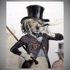 SALE: French Grandville Hand Colored Engraving 'Un Lion de Paris' 1842