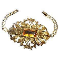 Czech Repousse and Filigree Brass and Topaz Glass Bracelet