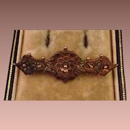 9 Karat Rose Gold English Etruscan Revival Bar Pin Brooch