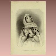 SALE: Original Orientalist Signed Engraving 'Jephtha's Daughter' c1845