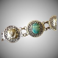 Scarab and Mummy Wirework  Egyptian Revival  Bracelet