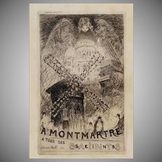 Art Deco era French Signed Montmartre Etching 1927..Rare.