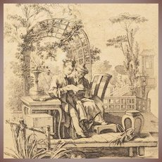 Boucher Signed Rare Chinoiserie Engraving 18th Century French c1750