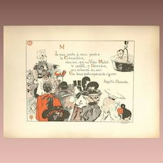 Original French Lithograph Signed Party Invitation from Les Programmes Illustres 1897 Art Nouveau era.