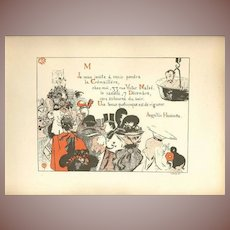 French Lithograph Party Invitation from Les Programmes Illustres 1897 Signed Art Nouveau era.