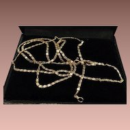 "Mid Century 14 Karat 23"" Yellow Gold Fancy Link Chain Necklace."