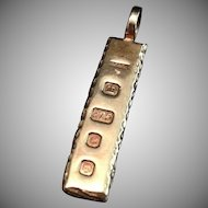 Vintage London Hallmarked 9 Karat Gold Pendant Ingot 1977.