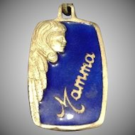 Vintage Sterling Silver and Blue Enamel  Italian 'Mamma' Pendant.