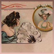 Early French Hand Colored Two Ladies with Feather Fan Postcard c1900.