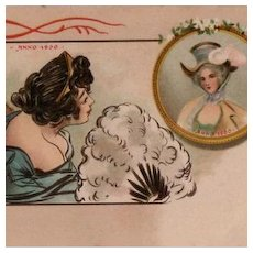 Hand Colored French Two Ladies with Feather Fan Postcard c1900.