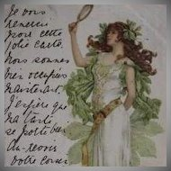 Art Nouveau German Signed Hand Colored Postcard Girl with Mirror 1903.