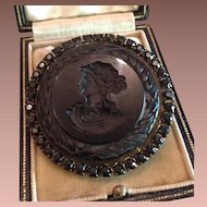 SALE: Black Intaglio Cleopatra with Asp Cameo French-Jet Mourning Brooch Pendant