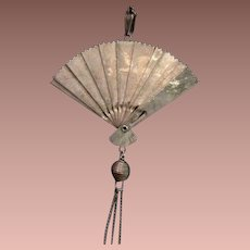 Antique Chinese Silver Color Articulated Fan Pendant.