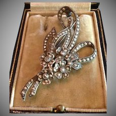 Art Deco Marcasite and 800 Silver Floral Bouquet Brooch Pin c1930