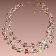 Double Strand Sparkling Graduated AB Crystal Necklace.