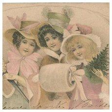 SALE: Beautiful Kirchner Art Nouveau French Christmas Maidens Postcard c1900