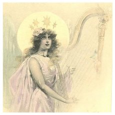 SALE: French Art Nouveau Christmas Angel with Harp Postcard 1902