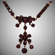SALE: Garnet Flower Lavalier Necklace Mid Century.
